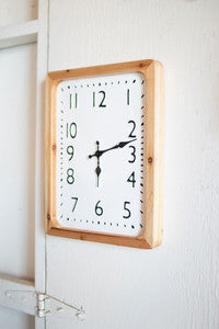 Tall Rectangle Wood Framed Wall Clock