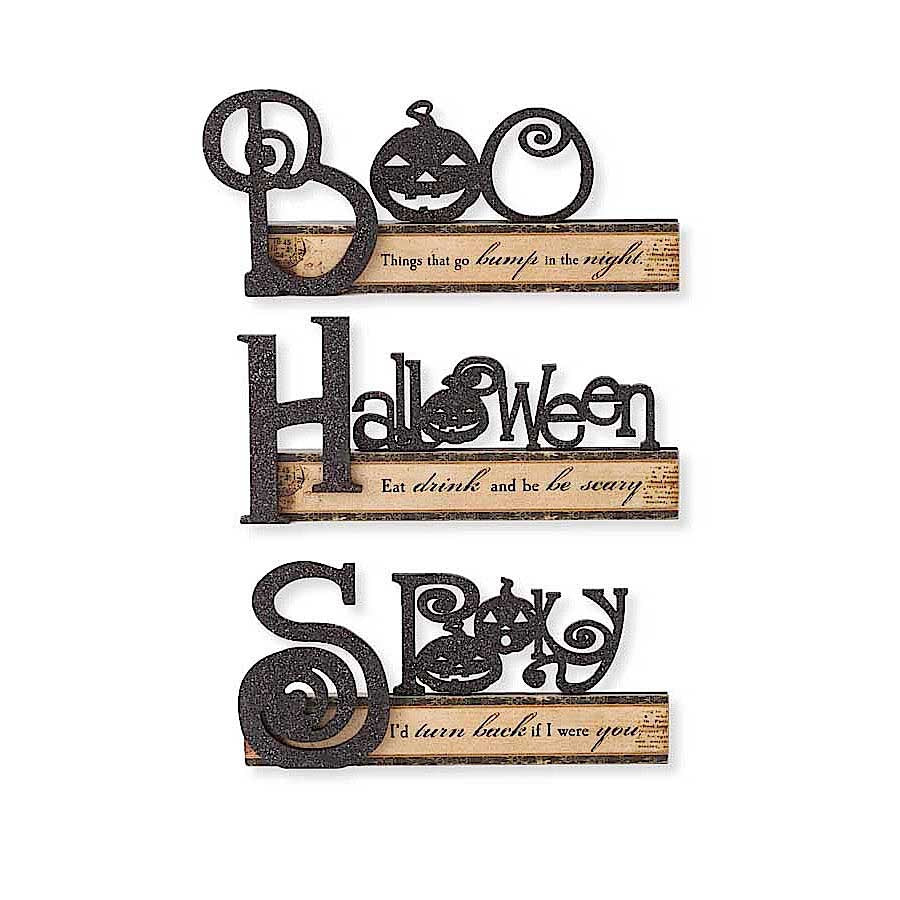 Vintage Halloween Cutout Tabletop Signs