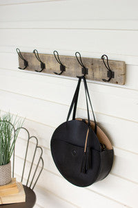 Recycled Wooden Rack With Five Metal Hooks