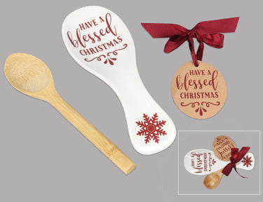CERAMIC CHRISTMAS SPOON REST WITH BAMBOO SPOON GIFT SET