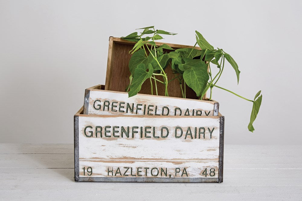 Distressed Wood Dairy Box