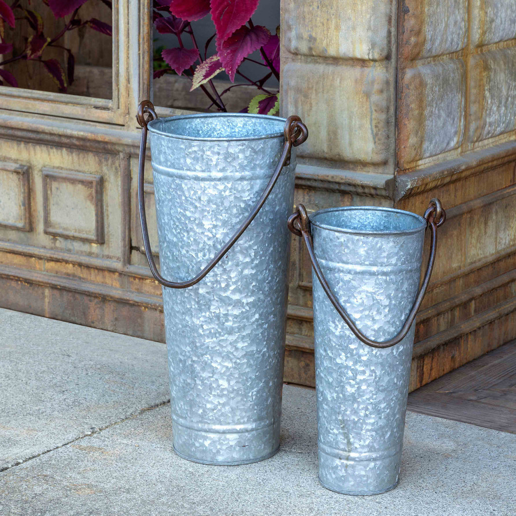 Tall Metal Display Bucket With Handle