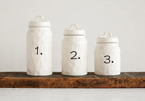 Ceramic Canister with Numbers Set (3)
