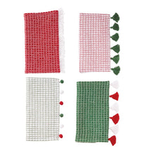 Load image into Gallery viewer, Christmas Tassel and Pom Pom Dish Towel Set