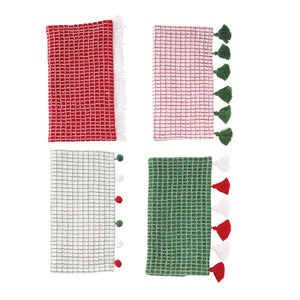 Christmas Tassel and Pom Pom Dish Towel Set
