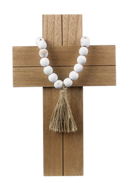 Wood Wall Cross with Bead and Tassel