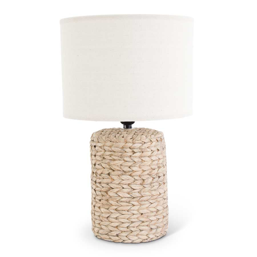 Concrete Woven Textured Lamp with White Shade