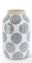 Load image into Gallery viewer, White Stoneware Vase with Gray Mandala