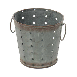 Metal bucket with holes