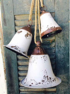 White Distressed Metal Bells