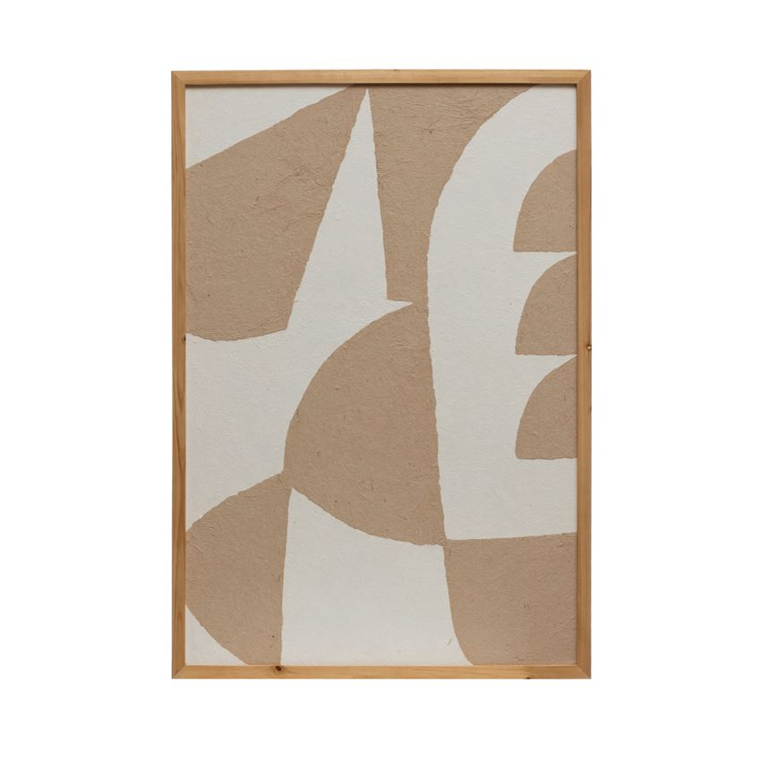 Wood Framed Handmade Paper Wall Decor with Abstract Image