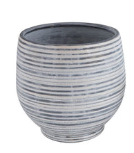 Load image into Gallery viewer, Grey and White Round Stoneware Planter