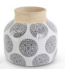 White Stoneware Vase with Gray Mandala