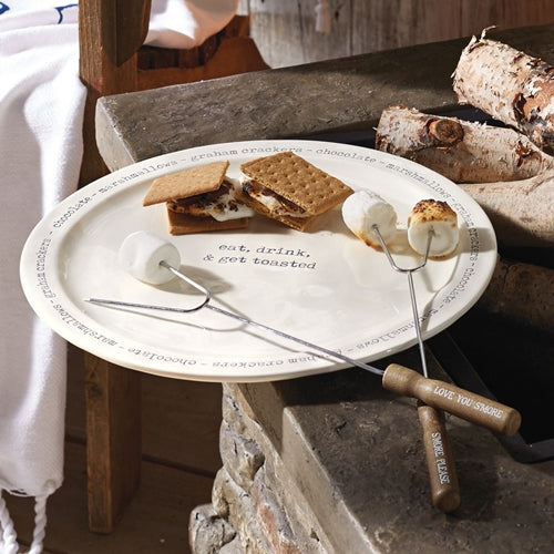 S'mores Ceramic Plate and Skewer Set