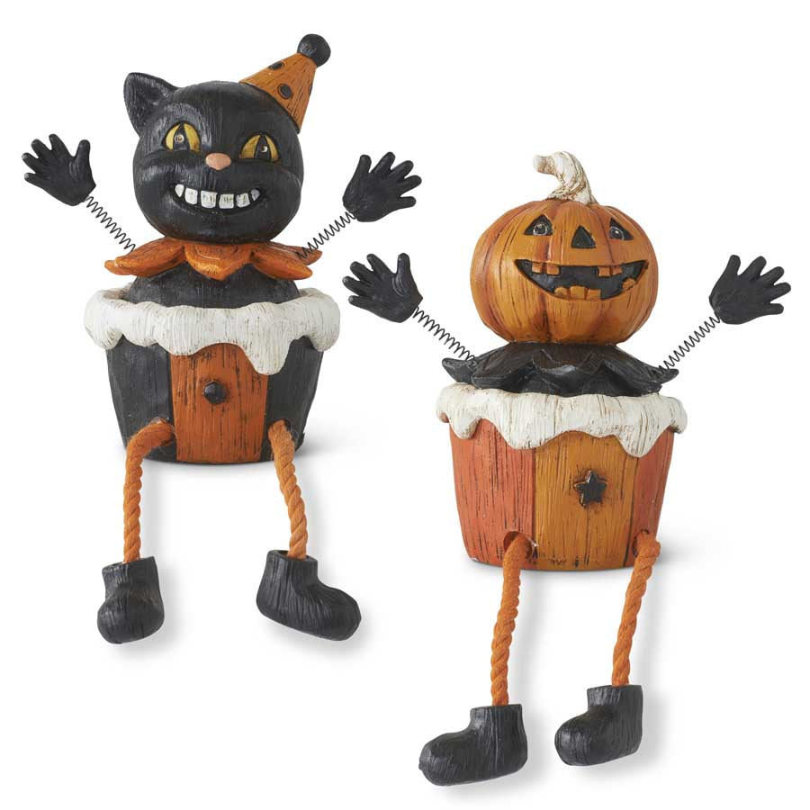 Assorted 7 Inch Resin Halloween Shelf Sitters w/Spring Arms