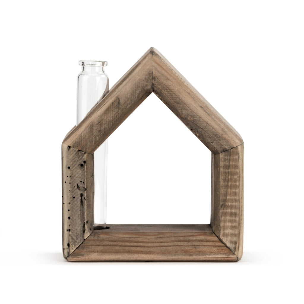 Wooden House Bud Vase