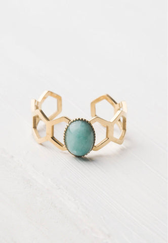 Gold Honeycomb Turquoise Ring