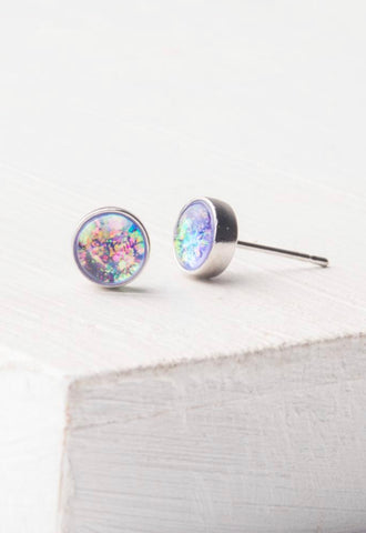 Lora Lavender & Silver Stud Earrings