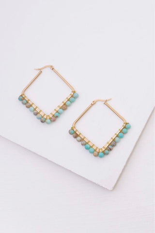 Kayla Turquoise Bead Hoop Earrings