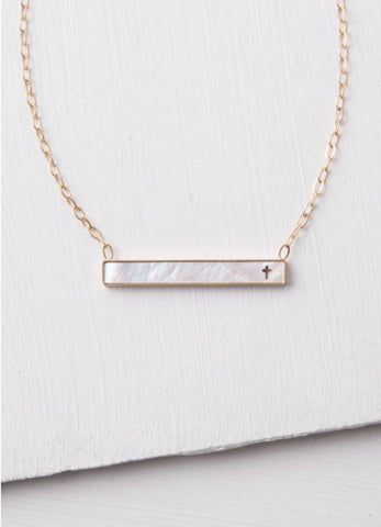 Lenore Mother of Pearl Cross Bar Necklace