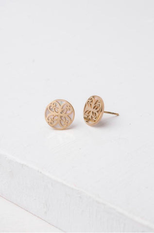 Maile Gold/Mother of Pearl Stud Earrings