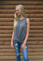 Charcoal Front Twist Tank Top
