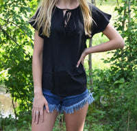 Black Front Tie Short Sleeve Top