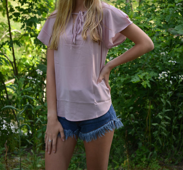 Pink Front Tie Short Sleeve Top