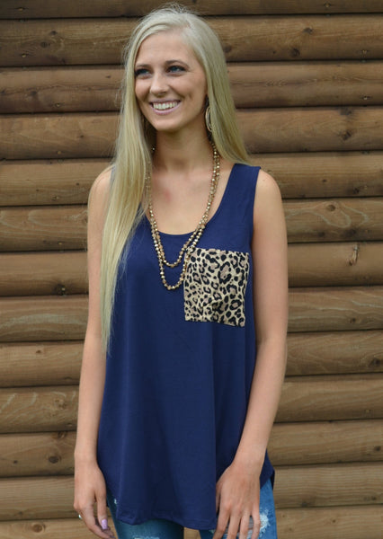 Navy Leopard Pocket Tank