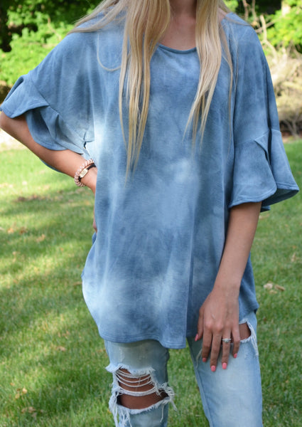 Teal Flare Sleeve Top