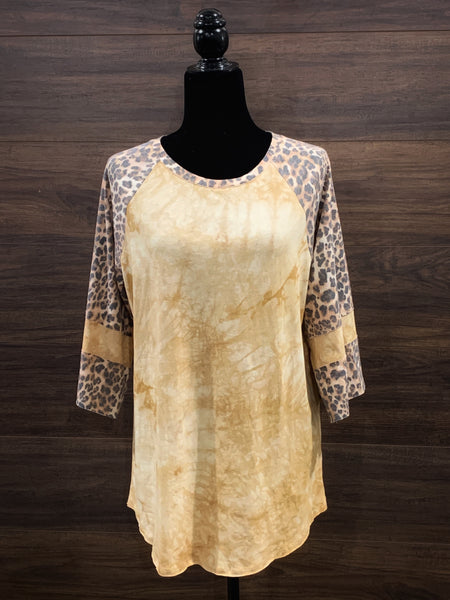Camel + Leopard Stripe Sleeve Top