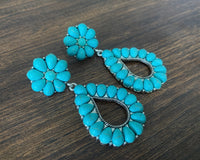 Turquoise Blossom Teardrop Earrings