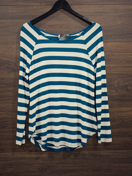 Teal Stripe + Patch Long Sleeve Top