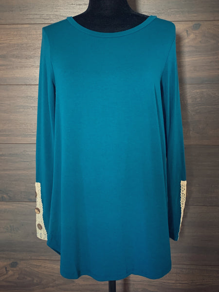 Teal Lace + Button Long Sleeve Top