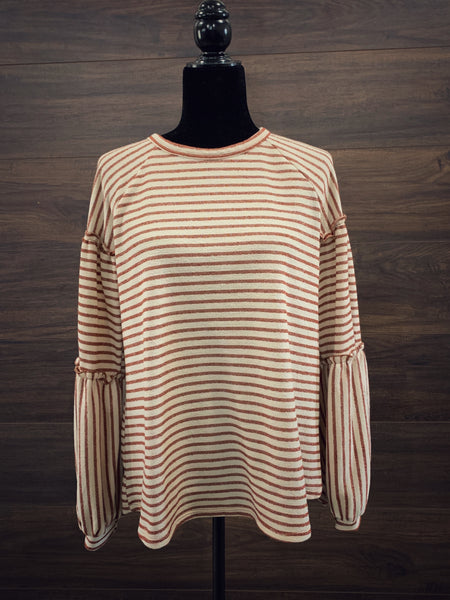 Camel Texture Stripe Long Sleeve Top