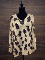 Leopard Hacci Knit Long Sleeve Top