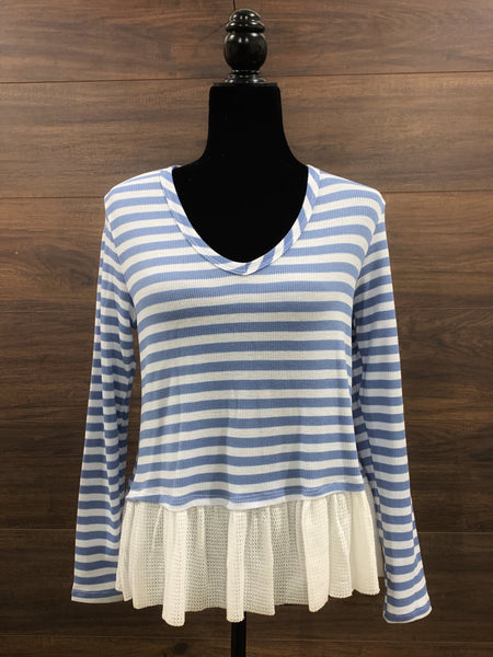 Blue Ruffle Trim Long Sleeve Top