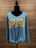 Blue Color Block Long Sleeve Cheetah Top