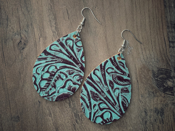 Turquoise + Brown Leather Teardrop Earrings