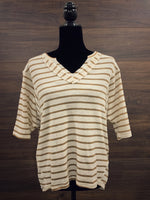 Taupe Stripe Short Sleeve Top