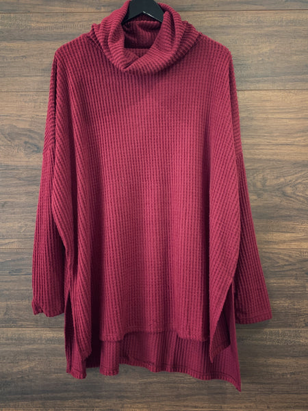 Burgundy Cowlneck Waffle Sweater