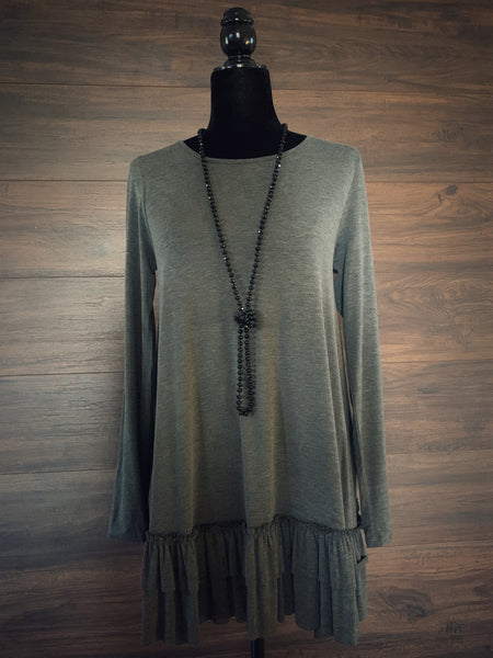 Mid Gray Ruffle Hem Long Sleeve Top