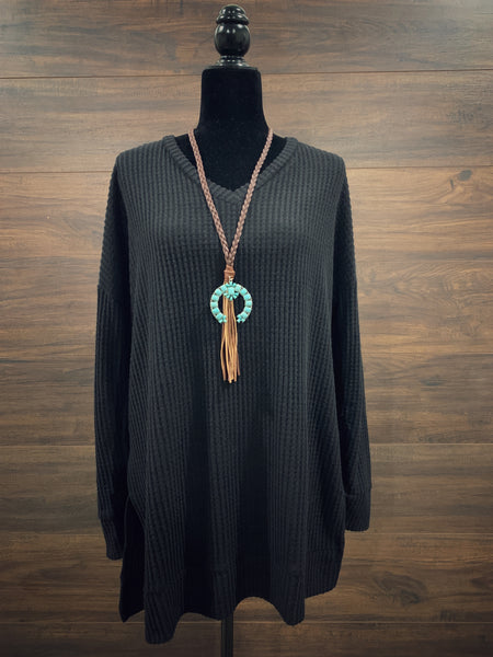 Black Thermal Waffle Sweater