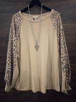 Leopard Bubble Sleeve Long Sleeve Top