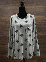 Heather Gray Star Print Long Sleeve Top