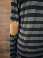 Charcoal Stripe + Patch Long Sleeve Top