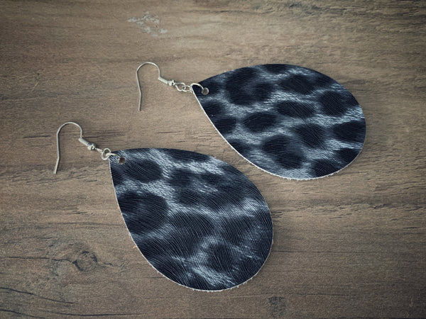 Gray Cheetah Teardrop Earrings