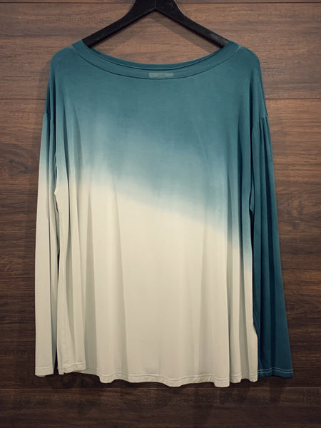 Teal Ombre Long Sleeve Top