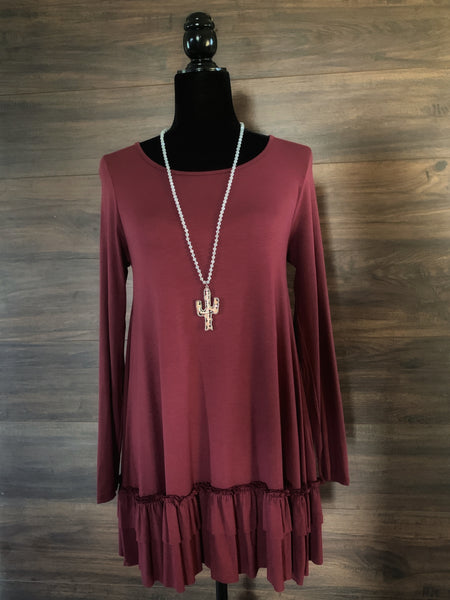 Deep Plum Ruffle Hem Long Sleeve Top