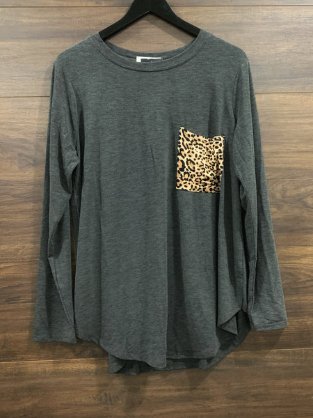 Charcoal Leopard Long Sleeve Top